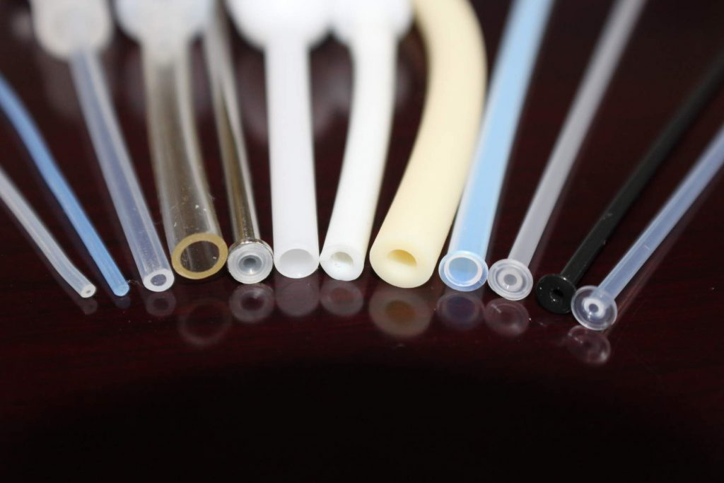 Several Plastic Tubes Made of Various Materials Used in Medical Tubing