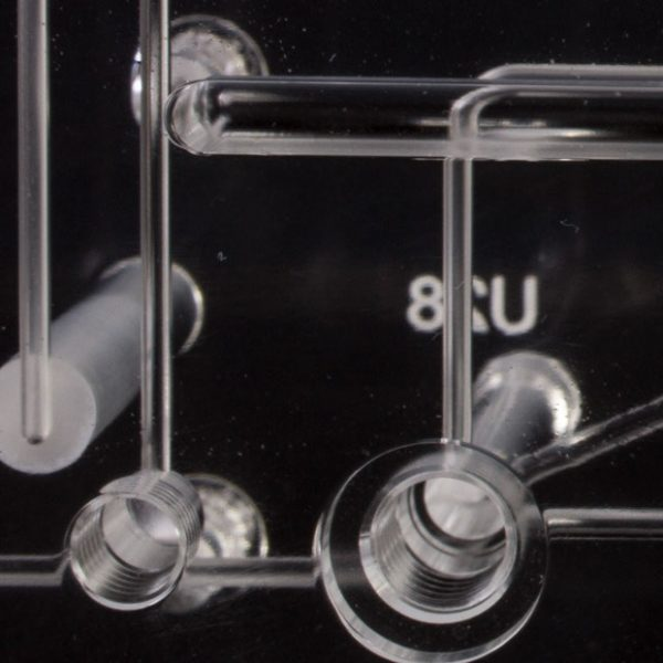 Close Up of Microfluidic Burr Free Pathways in a Diffusion Bonded Plastic Microfluidic Manifold