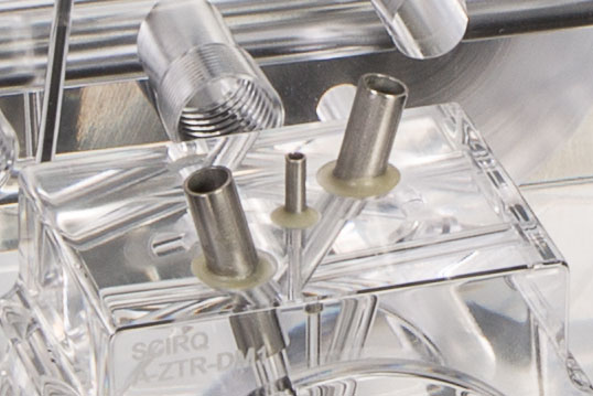 Stainless Steel Tube Inserts in a Precision Machined Plastic Manifold for Use in Life Sciences