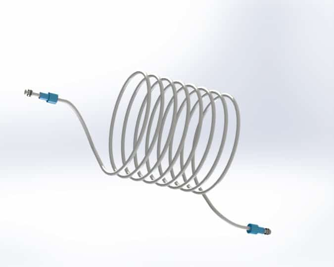 Thermoformed Coiled Plastic Tubing Assembly with Click & Seal Adapter