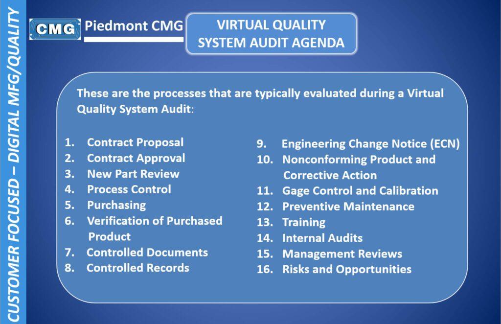Virtual Quality System Audit Agenda for Precision Plastics Machining Plant