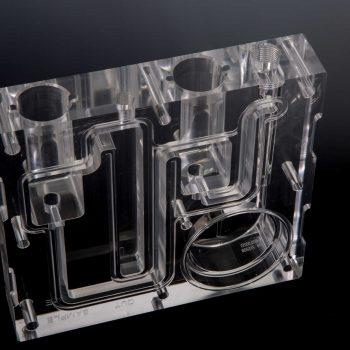 CNC Precision Machined Optically Clear Plastic Manifold