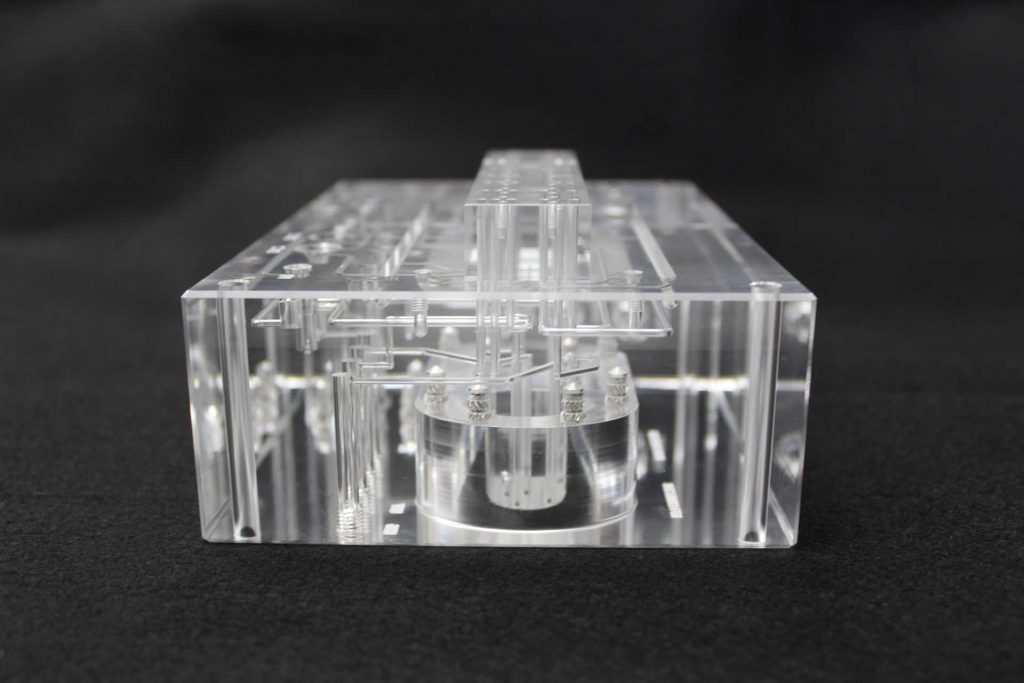 Side View of a Diffusion Bonded Plastic Fluidic Manifold